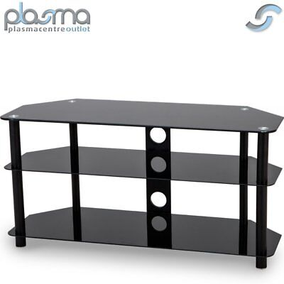 Black Gloss Glass TV Stand Unit Cabinet With Cable Management 50  LED CURVE LCD • 69.99£