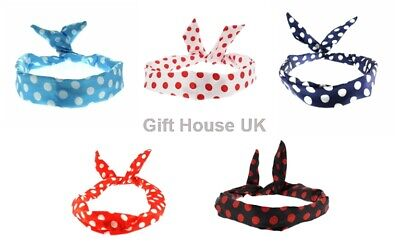 £2.45 • Buy Wire Headbands Polka Dot Retro Style Twisted Wired Bands Vintage Hair Band Scarf