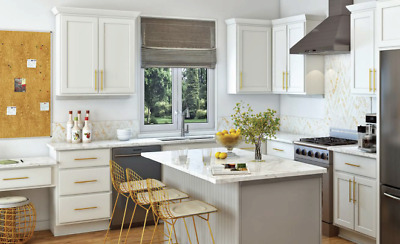 $2699.99 • Buy All Wood RTA 10X10  Luxor White Shaker Classic Kitchen Cabinets With Finger Grip