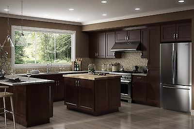 $2999.99 • Buy All Wood RTA 10X10  Luxor Espresso Shaker Kitchen Cabinets With Finger Grip Door