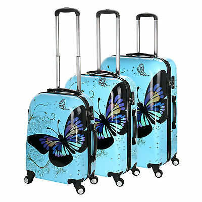 Hard Shell 4 Wheel Suitcase PC Luggage Trolley Case Cabin Hand Butterfly - Blue • 25.95£