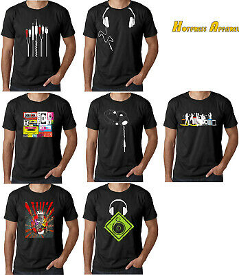DJ Headphones MusicTurntable Mens Cotton T-Shirt S - XXL  COOL HIPSTER • 8.95£