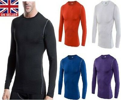 Compression Mens Long Sleeves Top Shirt Base Layer Thermal Sport Gym Cycling • 11.99£
