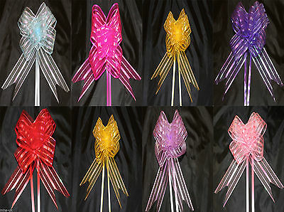 Large Organza Pull Bows 50mm 8 Colours Gift Wrap Wdding, Florist Decorating Bows • 1.99£