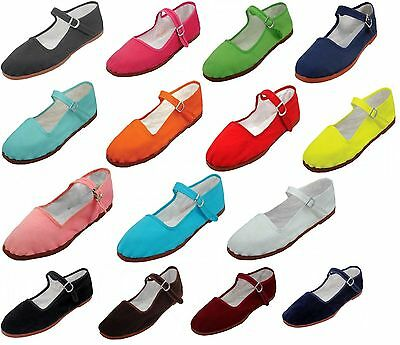 $11.99 • Buy Womens Cotton Mary Jane Shoes Ballerina Ballet Flats Shoes 15 Colors