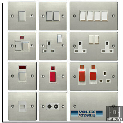 Volex Flat Brushed Stainless Steel Light Switches And Electrical Sockets White • 9.99£