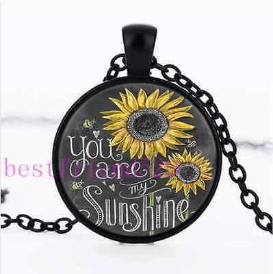 AU2.79 • Buy Sunflower You Are My Sunshine Glass Black Chain Pendant Necklace