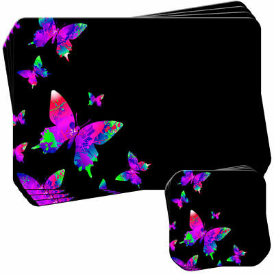 £19.99 • Buy Purple Rainbow Splash Butterflies Set Of 4 Placemats And Coasters