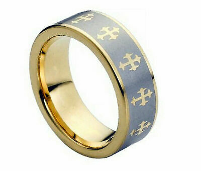 $22.46 • Buy Free Engraving 8mm Men Tungsten Carbide With Gold Celtic Cross Wedding Band Ring