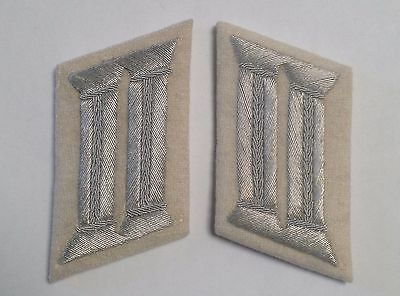 WW2 GERMAN ARMY OFFICER COLLAR TABS INFANTRY WHITE  Background • 12.99£