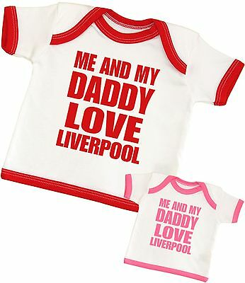 BabyPrem Baby Clothes Me & Dad Love Liverpool Baby T-Shirt NB 0-6 6-12 12-24  • 5.99£