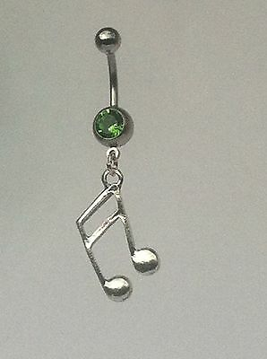 MUSIC NOTE Belly Bar Dangle - Choice Of Colour *UK Made*Free 1St Class Post* • 2.85£