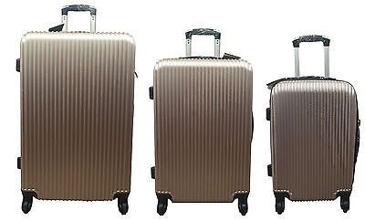 20  24  28  Hard Shell Suitcase Set 4 Wheel Luggage Spinner Lightweight - GOLD • 23.35£