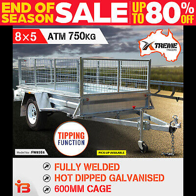 AU1999 • Buy New 8x5 Full Welded Galvanised Box Trailer With 600mm Cage