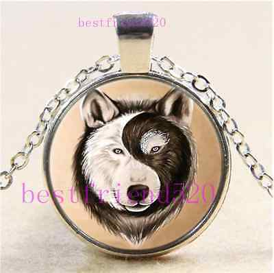 AU2.79 • Buy Yin Yang Wolf Face Cabochon Glass Tibet Silver Chain Pendant Necklace