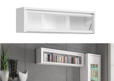£119.95 • Buy Modern White Wall Mounted Glass Fronted Display Cabinet Unit Shelf Kaspian 143cm