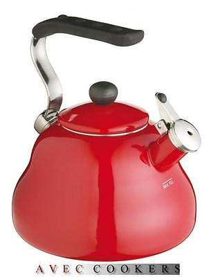 Red Whistling Stove Top Hob Kettle - For Aga Everhot Induction Gas - Le'Xpress • 37.95£