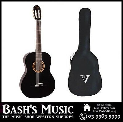AU129 • Buy Valencia 4/4 Full Size Guitar And Bag Pack Beginners Guitar Black NEW