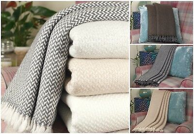 Luxury Cashmere Throws Bed Sofa Travel Chunky Knot Handmade In Nepal  • 84.59£