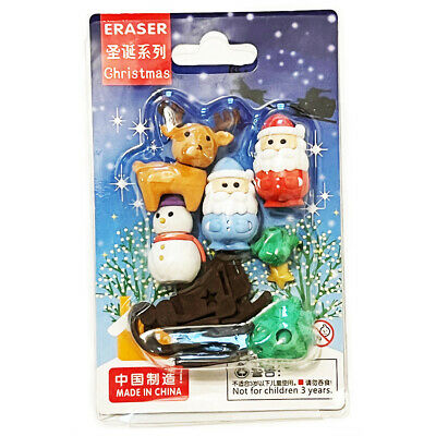 4pcs Santa Snowman Reindeer Christmas Tree Erasers Rubbers Stocking Fillers Gift • 2.49£