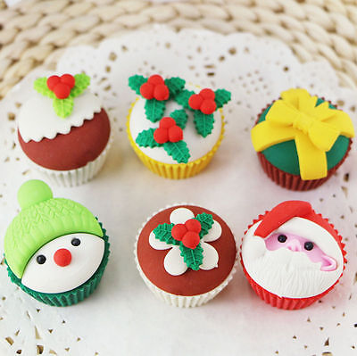Santa Claus Snowman Christmas Cupcake Erasers Rubbers Stocking Fillers Gift • 3.49£