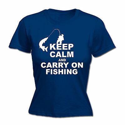 Keep Calm And Carry On Fishing WOMENS T-SHIRT Fish Tee Top Funny Birthday Gift • 7.94£