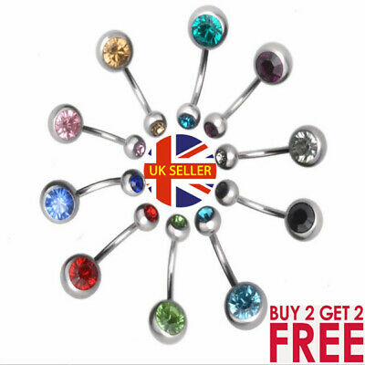 £1.19 • Buy Surgical Steel  Belly Bar Navel Button Ring Double Crystal Body Piercing