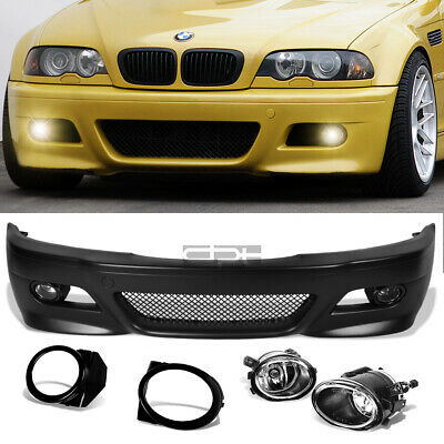 $295.99 • Buy Fit 99-06 E46 3Series Non-M M3 Style Replacement Front Bumper Body Kit+Fog Light