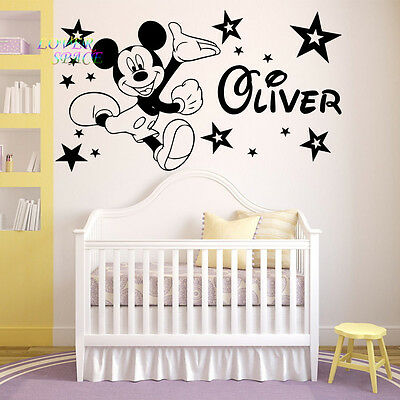 Mickey Mouse Wall Sticker Personalised Any Name Boys Wall Art AFC3 DECAL DECOR • 13.99£