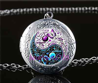 AU2.79 • Buy Ying Yang Butterfly Cabochon Glass Tibet Silver Locket Pendant Necklace