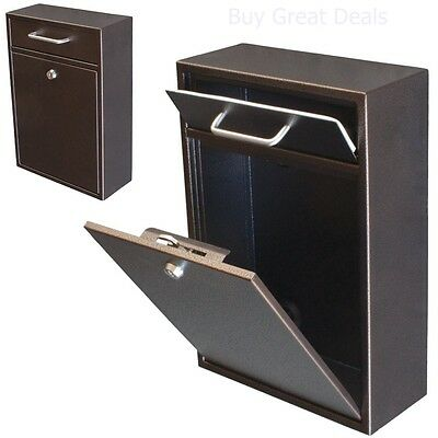 $101.99 • Buy Mailbox Wall Mount With Lock Key Drop Box Parcel Cash Money Safe Mail Security