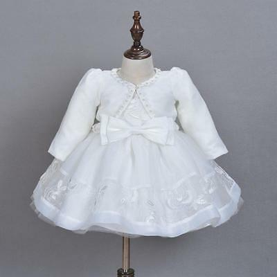 £21.99 • Buy Luxury Embroidery Lace Christening Gown Baby Girl Baptism Dress With Coat Bonnet