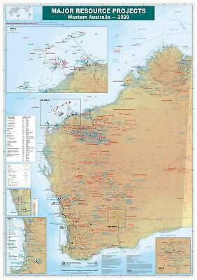 AU25.95 • Buy WA Major Resources Projects 2020 700 X 1000mm Laminated Wall Map
