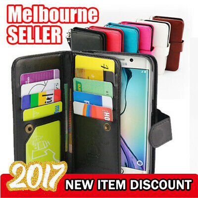 AU9.73 • Buy Galaxy S7 Edge S7 S8 Plus Case, Card Magnetic Flip Leather WALLET For Samsung