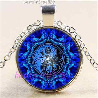 AU2.79 • Buy Ying Yang Flower Photo Cabochon Glass Tibet Silver Chain Pendant Necklace