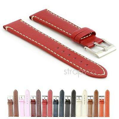StrapsCo Watch Strap Genuine Calf Leather Mens Or Women Contrast Stitching Band  • 14.99£