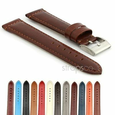 StrapsCo Smooth Leather Watch Band Mens Or Womens Strap W Stainless Buckle • 10.99£