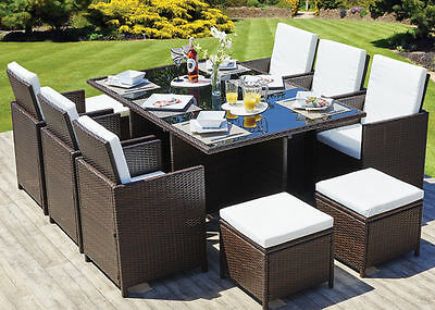 Rattan Garden Furniture Set Chairs Table Outdoor Patio Wicker 10 Seat Cube Set • 850£