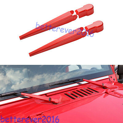 $24.68 • Buy Red Front Wiper Cover Trim Fit For 2007-18 Jeep Wrangler JK Sahara Rubicon 2/4dr