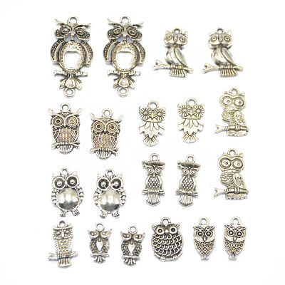 20x Mixed Tibetan Silver Owl Charms Pendants For Jewelry Making Craft DIY • 3.87£