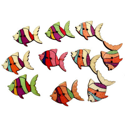 £3.29 • Buy 50x Wooden Buttons Fish Sea Animals Embellishment Crafts Sewing Cardmaking