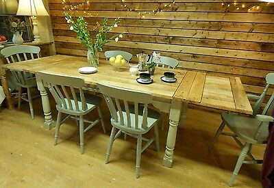 Large Rustic Oak Finish Extending 8.5 Ft Painted Dining Set Table & Chairs  • 1,150£
