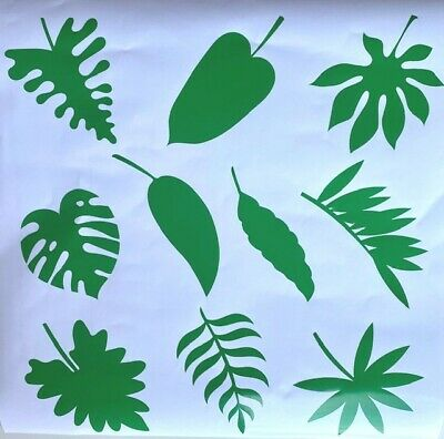10 TROPICAL LEAVES STICKERS Palm Window Decor Tiles Furniture Wall Green 9-11CM • 2.99£