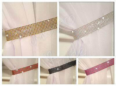 £3.39 • Buy Pair  Of Diamante Crystal Sparkle Curtains Voiles Tie Backs Hold Backs