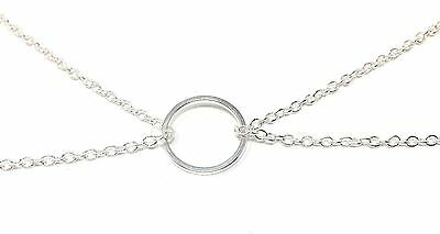 KARMA Double Chain Necklace Pendant  Keep The Circle Positive! Silver Colour NEW • 4.99£