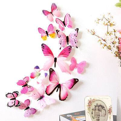 AU3.99 • Buy 12pcs Or 19pcs 3D Butterfly Wall Decal Removable Sticker Kids Nursery Decoration
