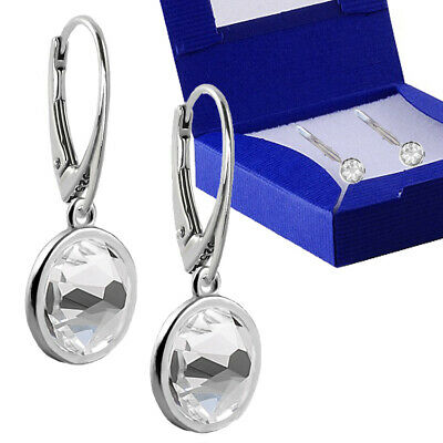 925 Sterling Silver Drop Dangle Earrings Leverback 7mm Crystals From Swarovski® • 11.99£