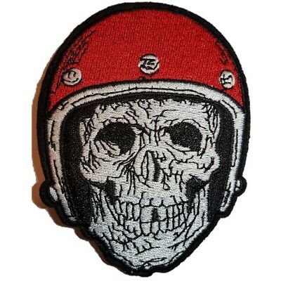 £2.59 • Buy Skeleton Biker In Hemet Skull Embroidered Iron On Patch Sew On Patch Transfer
