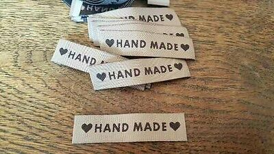 £5 • Buy 25 HANDMADE Motif Coffee Woven Fabric Labels Clothing Knitting Sewing Crafts  D1