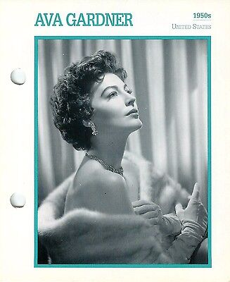 Ava Gardner 1950s Actress Movie Star Card Photo Front Biography On Back 6 X 7  • 3.21£
